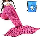 "LAGHCAT Mermaid Tail Blanket Crochet Mermaid Blanket for Kids, Soft All Seasons Sleeping Blankets, Classic Pattern (56""x28"", Rose Red)"