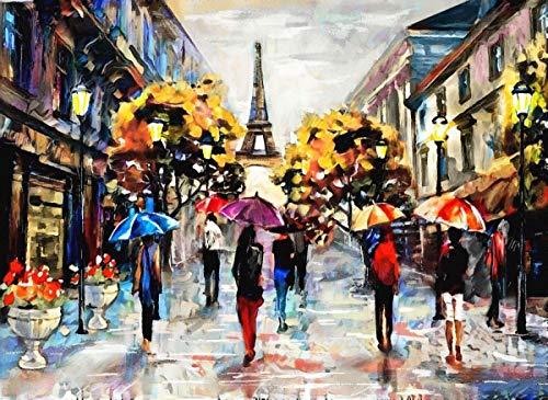 N/A Nova Jigsaw Puzzle 1000 Piece Rainy Air Eiffel Streets Pintura al óleo Puzzle Paraguas de Colores Pintura al óleo Paris Eiffel Tower Puzzle