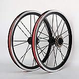 Bicicleta plegable de ruedas de 16 pulgadas Pequeño ruedas de la bici de aleación de aluminio llanta delantera trasera 2 4 Cubo de freno V Con 3 velocidades baja resistencia del volante Negro (un par