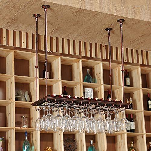Estante para botellas de vino en el techo, estilo vintage, soporte para copas de vino para colgar en hierro, accesorios para barras, estanterías para almacenamiento de vajilla de restaurante o cafet