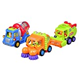 Coolecool Push and Go Friction Powered Cars Pull Back Vehicles for Baby Toys 18 Months and Up (3 Play Vehicles: Cleaner Car, Mixer Truck, Agricultural Harvester)