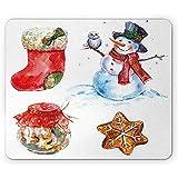 Weihnachtsmausunterlage, Aquarell-Weihnachtsschneemann mit Eulen-Socken-Lebkuchen-Plätzchen, 25 x 30 cm Belegfreies GummiMousepad