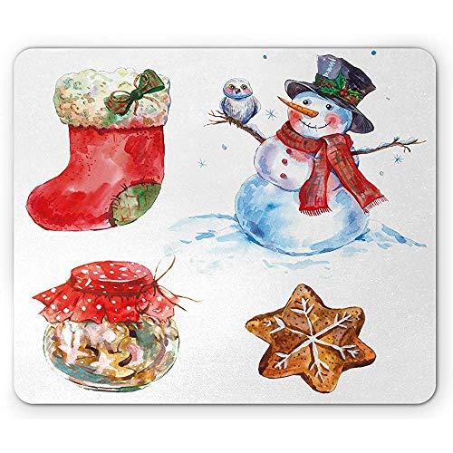 Weihnachtsmausunterlage, Aquarell-Weihnachtsschneemann mit Eulen-Socken-Lebkuchen-Plätzchen-rutschfestem GummiMousepad