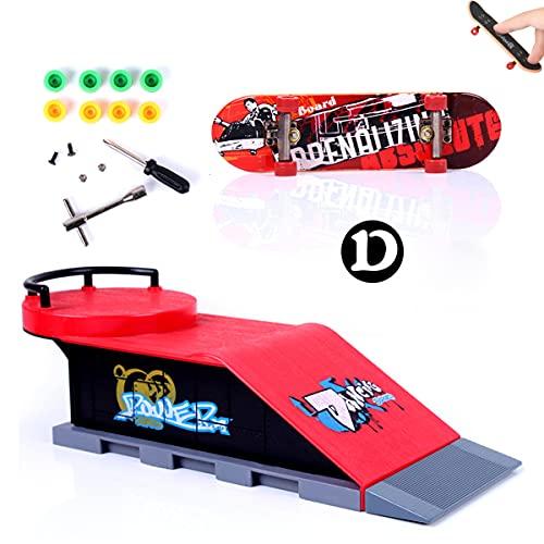 MOMSIV Finger Skateboard und Rampe Zubehör Set-Fingerboard Skate Park Spielzeug Set-DIY Finger Skate Boarding Ultimate Sport Training Requisiten Spielzeug für Kinder(D)