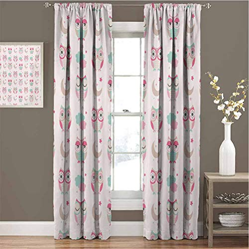 Owls for Bedroom Blackout Curtains Owls Stars Moon Patterns in Feminine Soft Colors Symmetric Design Artwork Blackout Curtains for The Living Room W84 x L108 Inch Almond Green Pink Tan