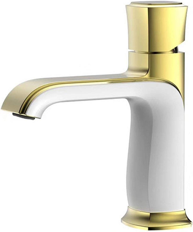 Bad Wasserhahn Alle Kupfer Becken Wasserfall Einlochmontage Einhand Hot And Cold Einstellung Waschbecken Wasserhahn,Chrome+Gold