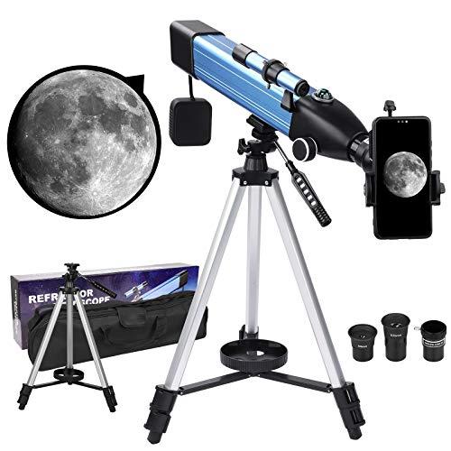 Telescopio per adulti Bambini principianti, rifrattore telescopio astronomico professionale portatile con apertura da 60 mm con mirino adattatore per treppiede per smartphone 3X lente di Barlow regalo