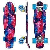 Morer Galaxy Pattern Skateboard, 22 pulgadas, ruedas LED iluminadas Cool Penny Board Complete Skateboards para principiantes Mini Standard Skateboard para niñas y niños (3)