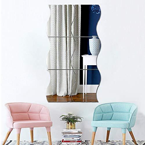 3D-Wandaufkleber, gewellt, 6 Stück, Spiegelkunst, DIY-Heimdekoration, Acryl-Spiegel-Wandplatte, Kunststoff-Fliesen für Zuhause, Wohnzimmer, Schlafzimmer, Sofa, TV-Einstellung, Wanddekoration