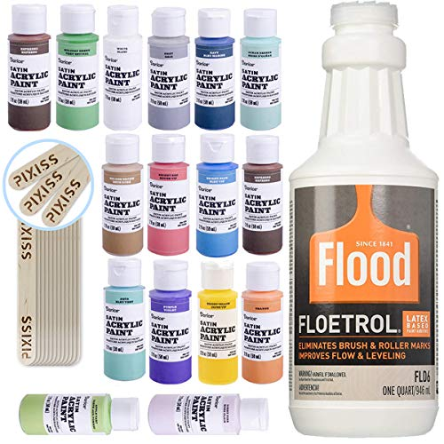 Floetrol Pouring Medium for Acrylic Paint Pouring Bundle 1-Quart | Flood Flotrol Additive | 16 2-Ounce Acrylic Paints | Pixiss Wood Mixing Sticks