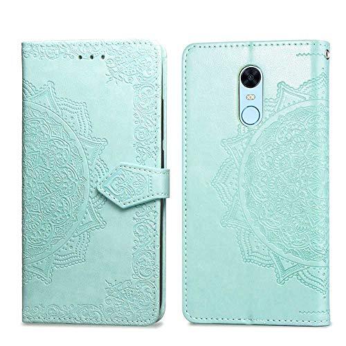 Bear Village Hülle für Xiaomi Redmi 5 Plus, PU Lederhülle Handyhülle für Xiaomi Redmi 5 Plus, Brieftasche Kratzfestes Magnet Handytasche mit Kartenfach, Grün