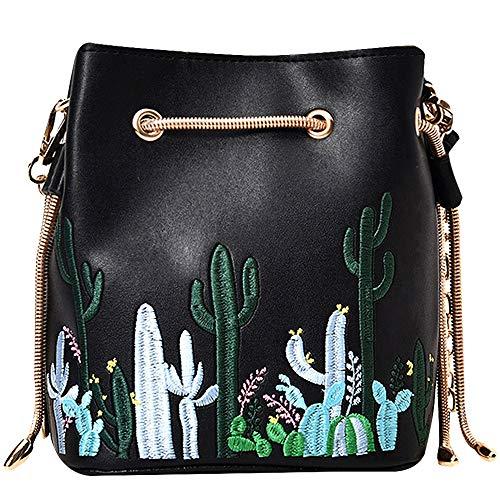 LABANCA Womens Mini Bucket Bag Cactus Printed Shoulder Bag with Drawstring Chain Crossbody Bag Black