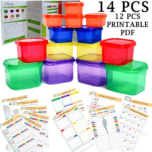 FixLife 21 Day Fix Portion Control Containers - Double Set (14-Piece) - Complete Guide + 21 Day Planner + 12 PCS Printable PDF - Color Coded Meal Prep System for Diet and Weight Loss