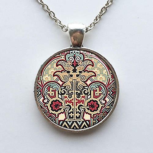 Halskette mit Aztekenmuster, neo-viktorianischer Steampunk-Stil, tolles Gemälde-Anhänger, Mode, Glascabochon, für Damen und Herren