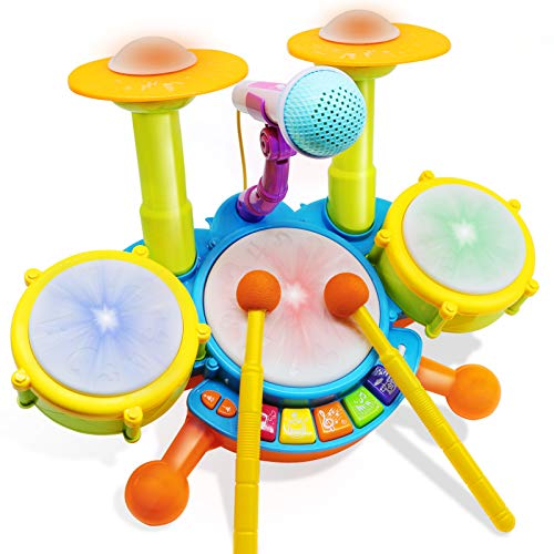 HOMILY Drum Set for Kids with 2 Drum Sticks and Microphone, Musical Toys Gift for Toddlers