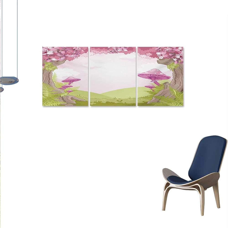 WinfreyDecor Mushroom Canvas Wall Art Set Cherry Blossom Trees Fairytale Land Forest Surreal Fantasy Wonderland Image Wall Stickers 16 x32 x3pcs Green Pink Brown