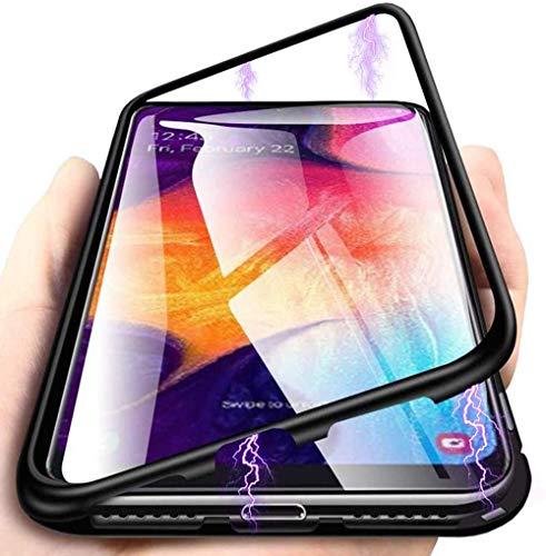 HongMan Hülle Magnetic Adsorption Handyhülle für Samsung Galaxy A50, Einteiliges 360 Grad Komplettschutz Metall Bumper, Gehärtetes Glas Schutzhülle Panzerglas Folie Durchsichtige Case Cover, Schwarz