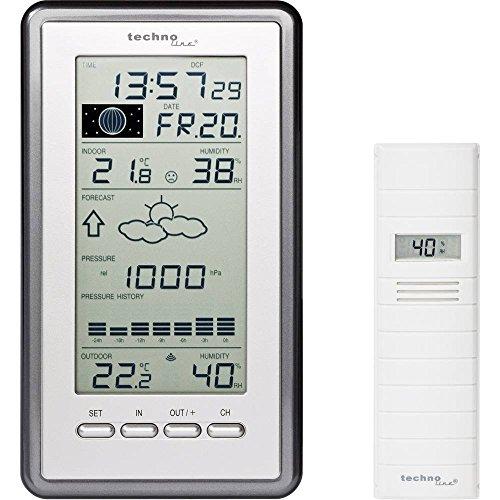 Technoline WS 9040 IT stazione meteorologica classica con indicatore di temperatura, visualizzazione tendenza meteo (argento con batterie)