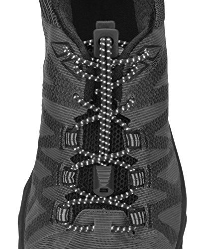 Nathan Reflektierende, elastische Schnürsenkel ohne Binden für Laufen und aktive Sportarten, Herren, NS1171, schwarz, Einheitsgröße