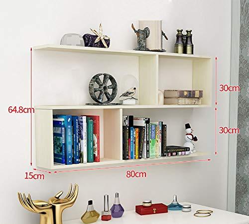 YLCJ wand boekenkast hout S-vormige drijvende display plank hangende kast boekenkast aan de muur gemonteerde eenheid opslagorganisator finishing houder (kleur: licht notenboom kleur)
