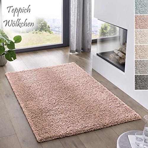 Teppich Wölkchen Shaggy-Teppich | Flauschiger Hochflor für Wohnzimmer, Kinderzimmer oder Flur Läufer | Einfarbig, Schadstoffgeprüft, Allergikergeeignet I Rosa - 120 x 170