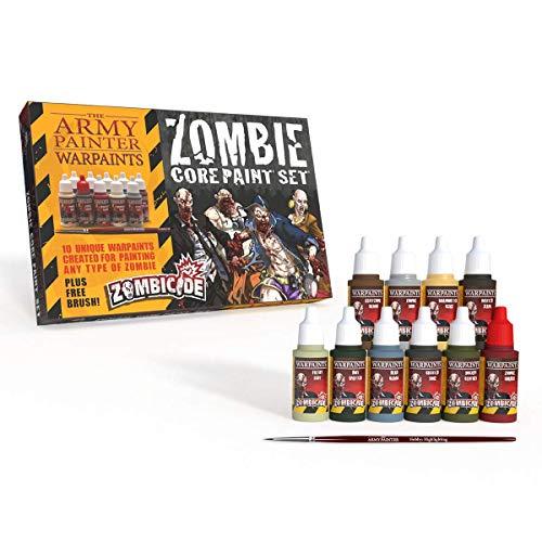 Warpaints Starter Paint Set with FREE Paintbrush - Zombie Miniature Painting Set, 10 Dropper Bottles of Zombicide Paints for Zombicide Board Games - Zombicide Core Paint Set by The Army Painter
