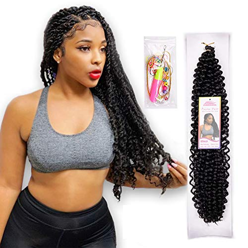 6Pcs Passion Twist Natural Black Synthetic Hair for Black Women Andromeda 18 Inch Soft Long Braids Passion Twist Crochet Braiding Hair Extensions with 5 Free Gift (1B)