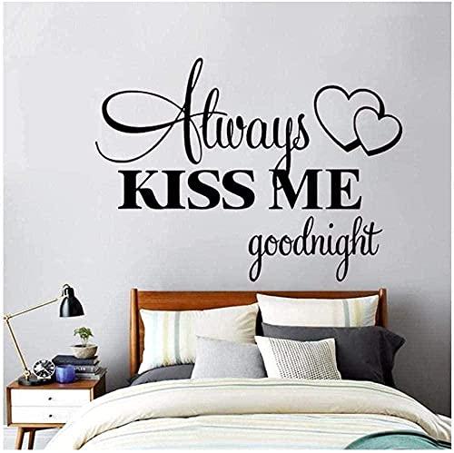 Pegatinas de pared pegatinas y murales de arte anillo de amor romántico dormitorio amigable siempre me puede dar un beso de buenas noches 56x55cm