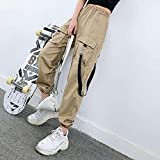 Dongwall Monos de Mujer de Moda Cintura elástica de Mujer Jogger de Pierna Ancha Tobillo Suelto Traje de Calle Larga Pantalones de harén Pantalones Coreanos -M
