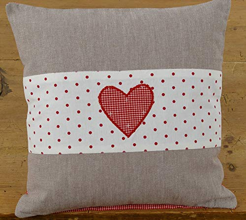 matches21 Cushion Cover Home Textiles Country House Premium ROSI Grey & Border White Red Dots & Heart 40 x 40 cm Pack of 1
