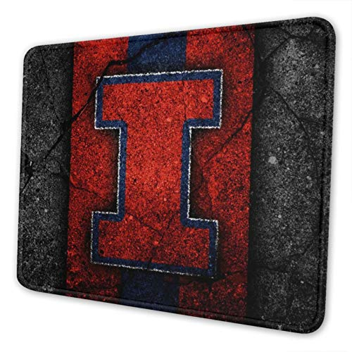 Illinois Fighting Illini Orange Blue Gaming Square Mouse Pad (7 Inches X 8.6 Inches) Non-Slip Rubber Smooth Surface Mouse Pad, Suitable for Office and Entertainment