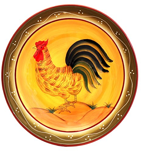 "Tuscany Province Sunshine Rooster Hand Painted Ceramic Serving Pasta Bowl Salad Fruit 13-1/2""W, 89399 by ACK"