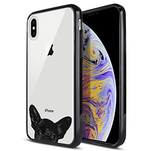 FINCIBO Case Compatible with Apple iPhone Xs Max 6.5 inch, Slim Shock Absorbing TPU Bumper + Clear Hard Protective Case Cover for iPhone Xs MAX (NOT FIT iPhone Xs) - French Bulldog Puppy Dog Black