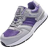 Zapatillas de Seguridad Mujer L91153 S1P SRC Zapatos de Trabajo con Punta de Acero Ultra Liviano Suave y cómodo Transpirable Antideslizante(37 EU,Gris Morado)