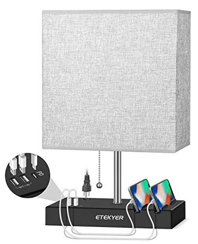 ETEKYER - Lámpara de mesa con puerto USB y PD para mesita de noche, puerto de carga rápida, puerto de carga dual USB, salida de CA de 3 clavijas y soporte de teléfono doble con...