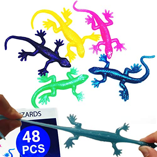 UpBrands 48 Pack Super Stretchy Lizards Toys 2 1/2 Inches Bulk Set, 8 Glitter Colors, Kit for Birthday Party Favors for Kids, Goodie Bags, Easter Egg Basket Stuffers, Pinata Filler, Classroom Prizes