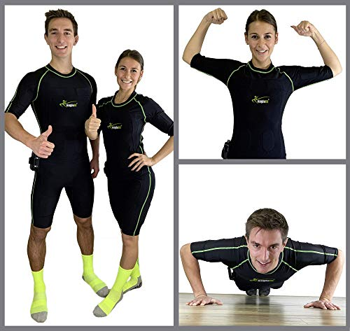 eaglefit EMS Home Fitness-Trainer, Kabelloses EMS Training für zu Hause - wie im Studio - mit Ganzkörperanzug und App, L