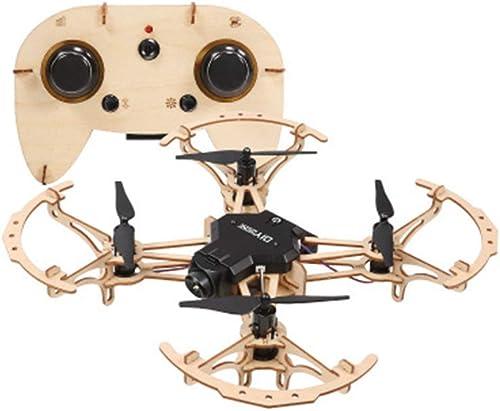 HuaMore Bricolage en Bois Quadricoptère à Distance Drone de Contrôle avec caméra HD Antenne vidéo Avion