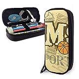 Estuche para lápices de cuero MS Sport Basketball con cremallera, estuche de cuero para bolígrafo con portalápices de cuero de PU
