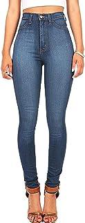 WEIMEITE Pantalones Vaqueros Casuales Elegantes para Mujer Pantalones De Cintura Alta Elásticos Azules Pantalones Cálidos ...
