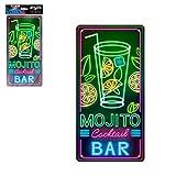 STC - Plaque Déco Effet Néon 15x30 cm – Mojito Cocktail Bar