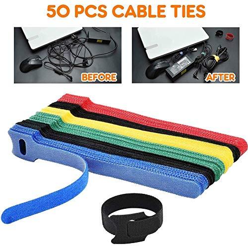 fervory 50 PCS Bridas Velcro Sujetadores De Cable De Sujeción Reutilizables Sujetadores De Cable Ajustables Gestión De Cables De Gancho Y Bucle Envolturas del Organizador De Cables