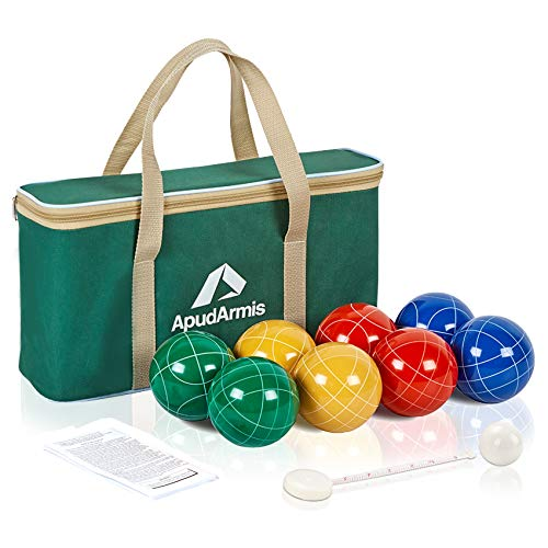 ApudArmis Bocce Balls Set, Outdoor Family Bocce Game for Backyard/Lawn/Beach - Set...