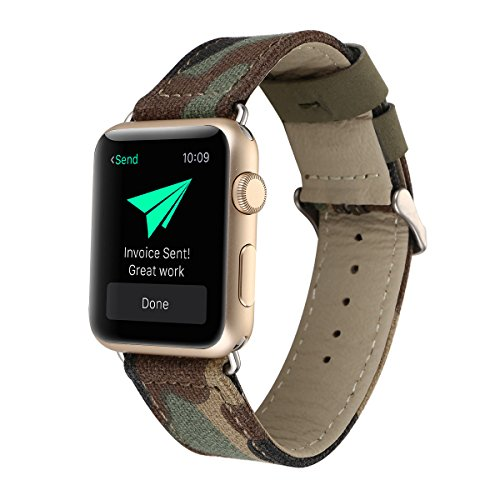 Women Men Camouflage Camo Pattern Leather Denim Fabric Watch Band Compatible for Apple Watch Series 2, Series 1, Sport, Edition 42mm (Camouflage-42mm)