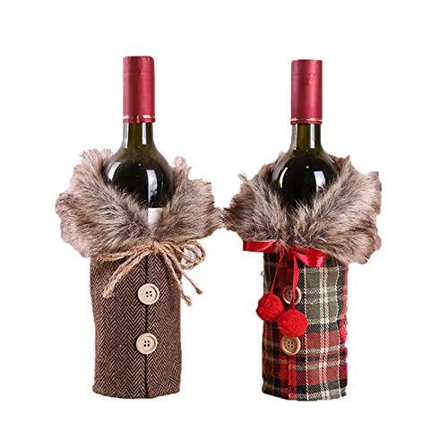 Tamkyo 6 fundas para botellas de vino de Navidad, bolsas de decoración de botellas de vino, diseño de cuello con botones, para decoración de fiestas de Navidad