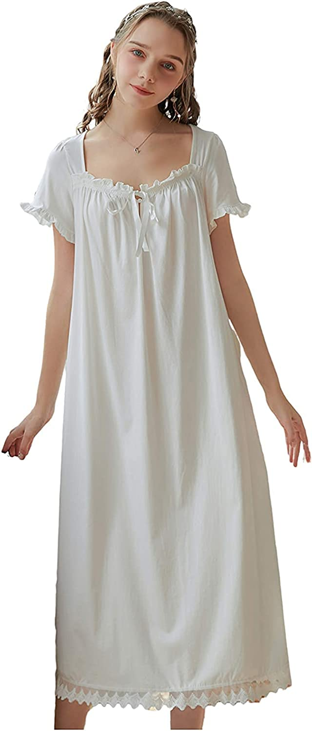 Nightgown Cotton Short Sleeve Soft Manufacturer regenerated product Max 83% OFF Style Whi Sleepwear Victorian