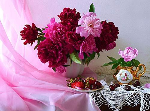 BoboVip diamantschilderij bloemen, bloemen op het raam, diamantborduurwerk bloemen fruit 30X40cm