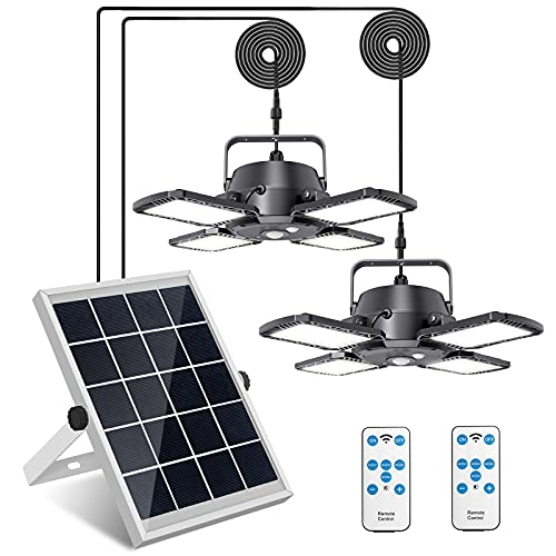 Solar Pendant Lights Adjustable Solar Panel with Dual Lamps Indoor Shed Light 128 LED IP65 Waterproof Outdoor Motion Sensor Light with Remote Control for Shop, Garage, Barn, Gazebo, Canopy