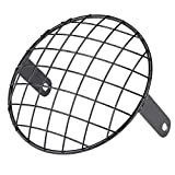BiuZi Motorcycle Headlight Grill Motorcycle 7' Headlight Mesh Grill Side Mount Universal Cover for Cafe Racer (Black)