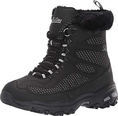 Skechers Damen D'lites - Bomb Cyclone Biker Boots, Schwarz (Black Blk), 38 EU